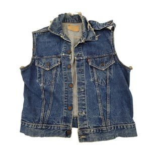Levis Big E Denim Vest M L Destroyed Distressed Je